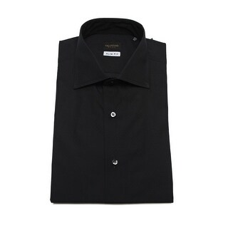 Valentino Men's Slim Fit Cotton Dress Shirt Polka Dot Black