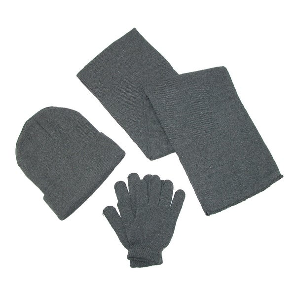 CTM® Men's Knit Solid Hat Gloves and Scarf Winter Set - One size