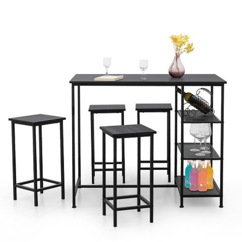 Costway 5 Piece Counter Dining Table Set Bar Pub Table Set Metal Frame