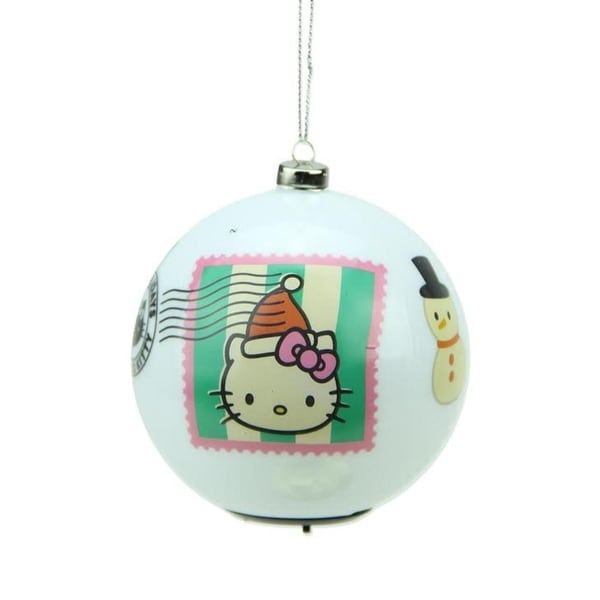 "3.25"" Carlton Cards Heirloom Multi Color LED Lighted Hello Kitty Christmas Ball Ornament - WHITE"