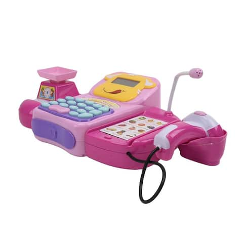 WonderPlay Battery Operated Cash Register with Sound, Light, Calculating Little Kid 4 - 6 years - Pink