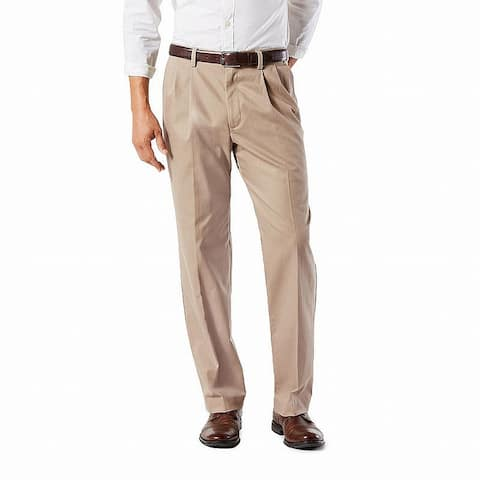 Dockers Mens Pants Beige Size 48X34 Khaki Classic Non-Wrinkle Stretch