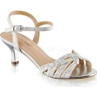 Fabulicious Women's Audrey 03 Ankle Strap Sandal Silver Shimmering Fabric