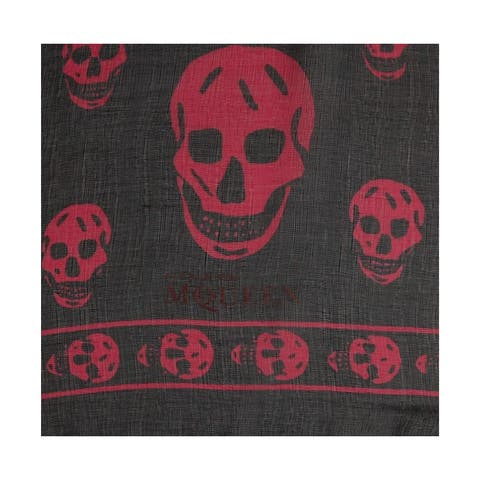 Alexander McQueen Women's Black Chiffon Silk with Purple Pink Skull Print Scarf 110640 1071 - One Size