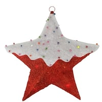 "18"" Red Lighted Snowy Candy Covered Sisal Hanging Christmas Star Window Decoration"