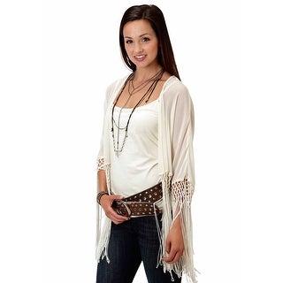 Roper Western Shirt Womens S/S Fringe Natural 03-050-0592-3023 WH