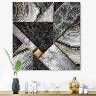 Designart 'Marble Granite Agate With Touches Of Gold' Modern Canvas Wall Art Print