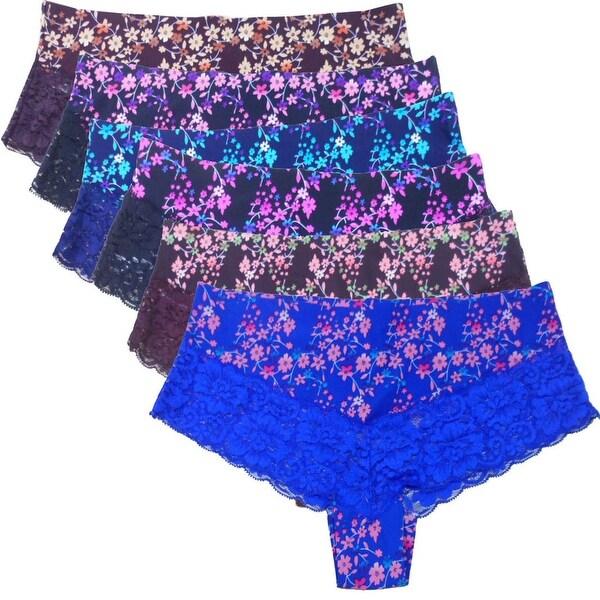 Women's 6 Pack Flora Lace Laser Cut No-Show Hipster Panties