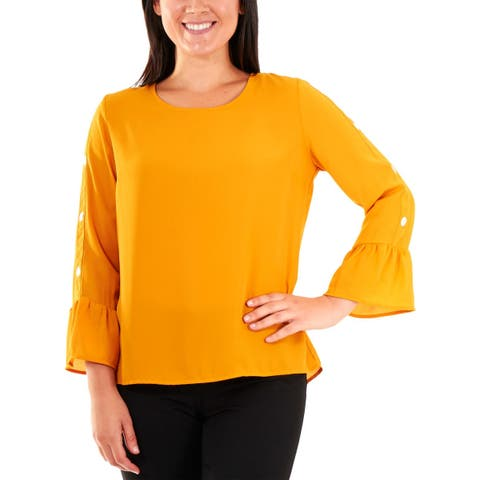 NY Collection Womens Petites Pullover Top Embellished Bell Sleeves