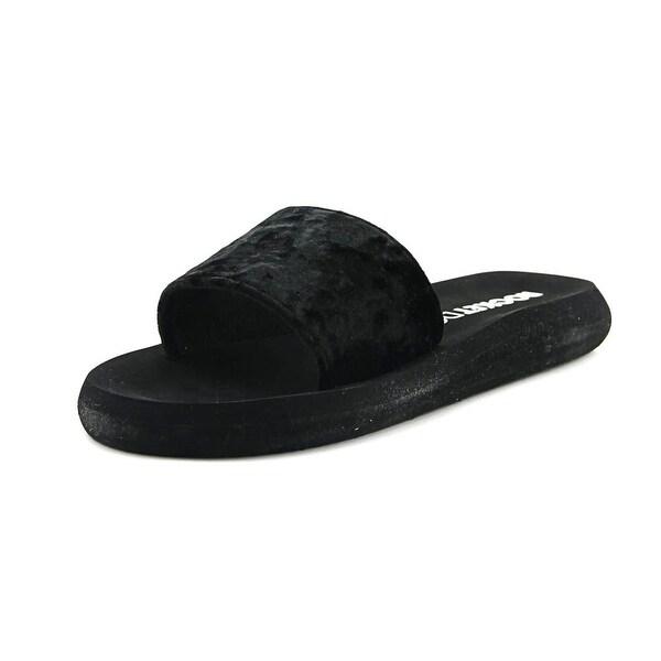 Rocket Dog Single Crush Women Open Toe Canvas Black Slides Sandal