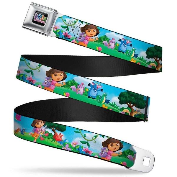 Dora The Explorer Logo Full Color Black Dora Running & Animal Friends Seatbelt Belt