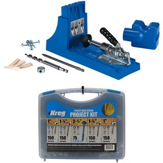 Kreg Jig K4 Pocket Hole System and Pocket-Hole Screw Project Kit in 5 Sizes - Blue