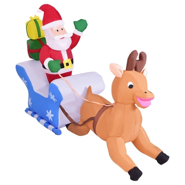 Costway 6' Indoor/Outdoor Inflatable Santa Claus Elk Christmas Holiday Decor Setting