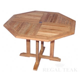 "52"" Natural Teak Octagon Outdoor Patio Wooden Dining Table"