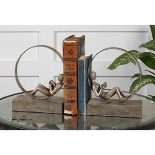 Set of 2 Lounging Reader Antique Bookends 10""