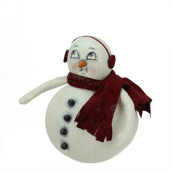 """8"""" Gathered Traditions """"Moe"""" Snowman Decorative Glittered Christmas Figure - WHITE"""
