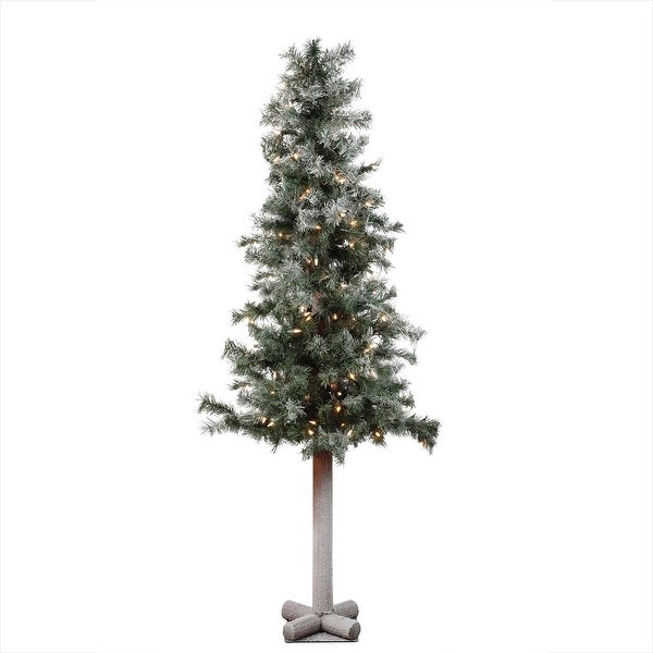"""5' x 28"""" Pre-Lit Frosted and Glittered Woodland Alpine Christmas Tree - Clear Lights - green"""