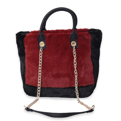 Maroon, Black Faux Fur Handbag with Shoulder Chain Strap