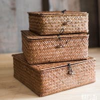 RusticReach Natural Small Lidded Straw Basket in Brown (Set of 3)
