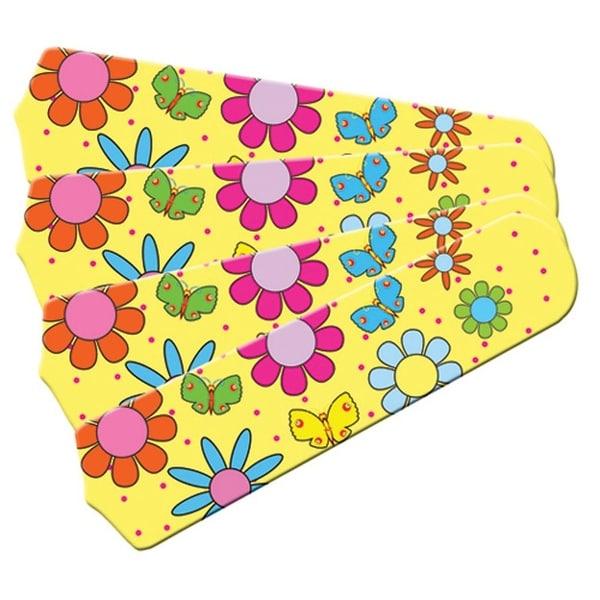 Yellow Bright Flowers Custom Designer 42in Ceiling Fan Blades Set - Multi