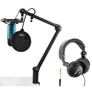 Blue Microphone Yeti (Teal) with Compass, RadiusIII, Pop Filter & Headphones