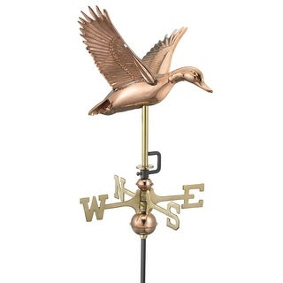 "21"" Handcrafted Polished Copper Flying Duck Outdoor Weathervane with Garden Pole"