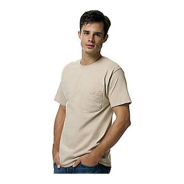 4dc1e8e9e6ec Shop Hanes Men's Tagless 6.1 Short Sleeve With Pocket (Set of 3) Sand - On  Sale - Free Shipping On Orders Over $45 - Overstock - 25693661
