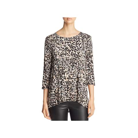 Bobeau Womens Blouse Pleated Back Leopard Print