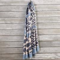 Mad Style Blue Mixed Print Linen Scarf
