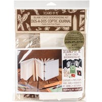 Books By Hand Designed By Me Blank Cover Bookbinding Kit-Dos-A-Dos Coptic Journal Ivory 4.25X4.25