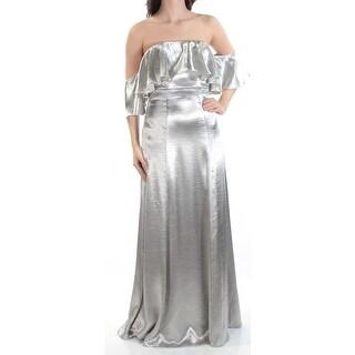 Womens Silver 3/4 Sleeve FullLength Sheath Prom Dress Size: 12