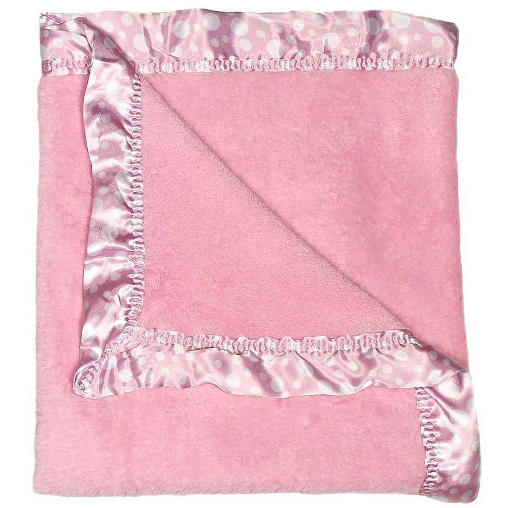 Raindrops Flurr Receiving Blanket Pink with White Dots