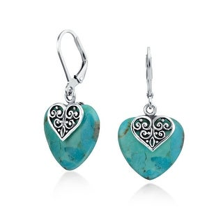 Bling Jewelry Natural Compressed Turquoise Heart Silver Leverback Earrings - Blue