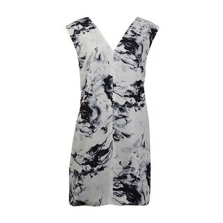Keepsake Women's Sleeveless Marble Printed V-neck Shift Dress - Multi - M
