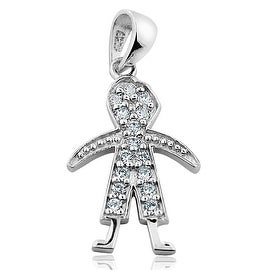Baby Boy Charm Pendant in Sterling Silver with Cubic Zircons Mothers Charm