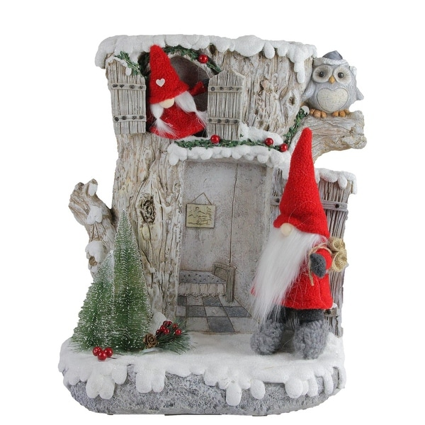 "17.5"" LED Lighted Woodland House with Red Plush Gnome Couple Christmas Decoration - brown"