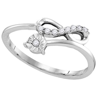Sterling Silver Womens Round Natural Diamond Band Fashion Ring 1/10 Cttw - White
