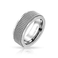 Bling Jewelry Mens Stainless Steel Mesh Band Ring