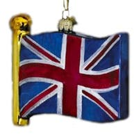 Pack of 4 Noble Gems Mouth Blown Glass United Kingdom Flag Christmas Ornaments - multi