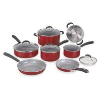 Cuisinart 11Pc Ceramic Nonstick XT Cookware - Red Nonstick Cookware Set - Black
