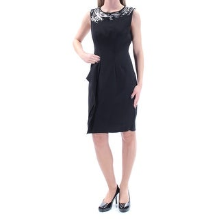 ANNE KLEIN Womens Black Beaded Embroidered Sleeveless Crew Neck Above The Knee Sheath Formal Dress Size: 2