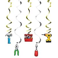 """Club Pack of 30 Silver and Gold Assorted Handyman Dizzy Danglers 10.2"""""""