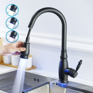 Link to Single Handle Pull-out Kitchen Faucet with Deck Plate Matte Black Similar Items in Faucets
