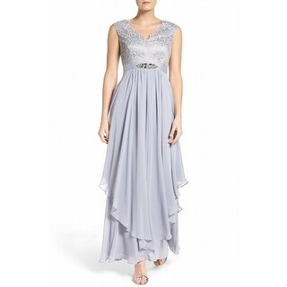 Eliza J NEW Silver Womens Size 6 Lace Embellished Bodice Gown Dress