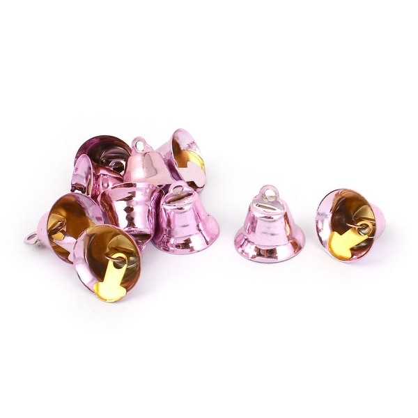 10 Pcs Metal 15mm Dia Christmas Tree Ring Bell Hanging Decoration Pink