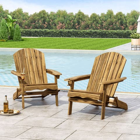 Bellwood Outdoor Acacia Wood Folding Adirondack Chairs (Set of 2) by Christopher Knight Home