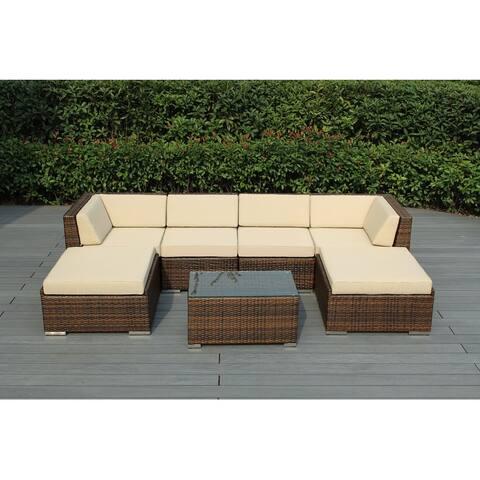 Ohana Outdoor Patio 7-piece Mixed Brown Wicker Conversation Set