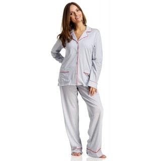 DKNY Women's New Classic Long Sleeve Notch Collar/Pants Pajama Set