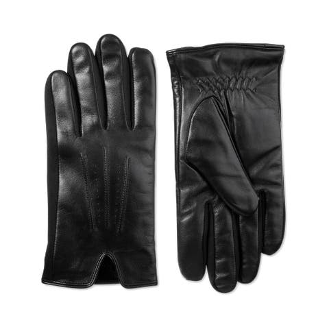 Isotoner Mens Sleek Heat Leather Gloves Fleece Lined Touchscreen - Black