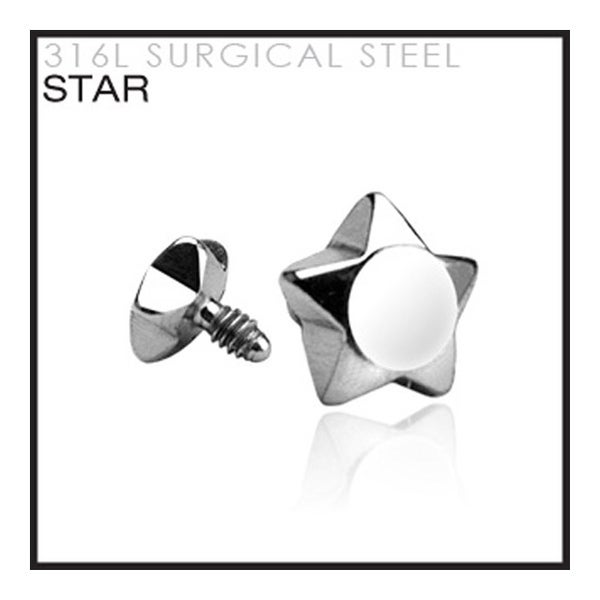 Surgical Steel Star for Internally Threaded Dermal Anchors - 14GA (4mm Ball) (Sold Ind.)